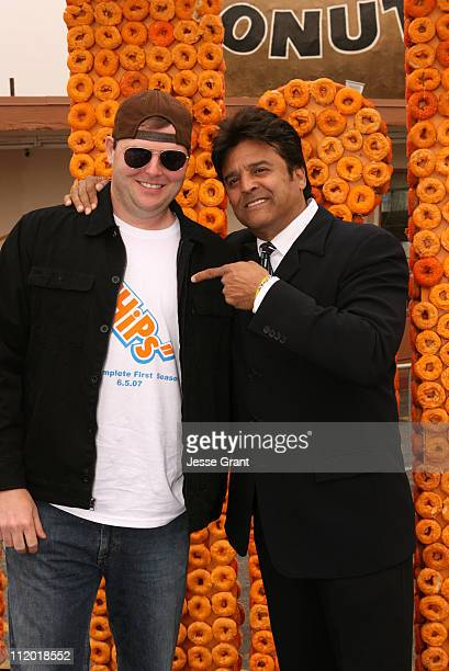 James Donahue and Erik Estrada during Erik Estrada Hosts a Donut Eating Contest for CHiPS Season One Release at Randy's Donut in Inglewood CA United...