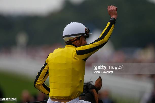 James Doyle celebrates after riding Big Orange to win The Gold Cup on day 3 'Ladies Day' of Royal Ascot at Ascot Racecourse on June 22 2017 in Ascot...