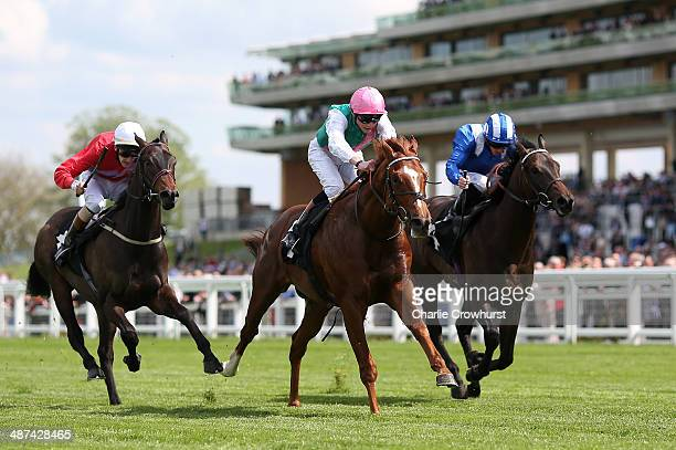 James Doyle rides Escalating to win The Injured Jockeys Fund 50th Anniversary Celebration Condition Stakes at Ascot racecourse on April 30 2014 in...
