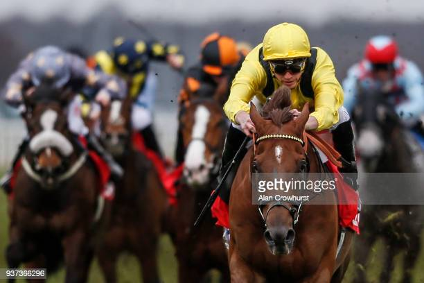 James Doyle riding Addeybb win The 32Red Lincoln at Doncaster racecourse on March 24, 2018 in Doncaster, England.