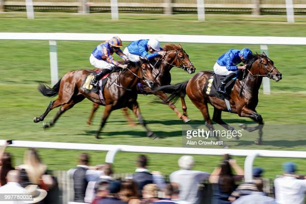 James Doyle riding AL Hilalee win The Weatherbys British EBF Maiden Stakes at Newmarket Racecourse on July 13 2018 in Newmarket United Kingdom