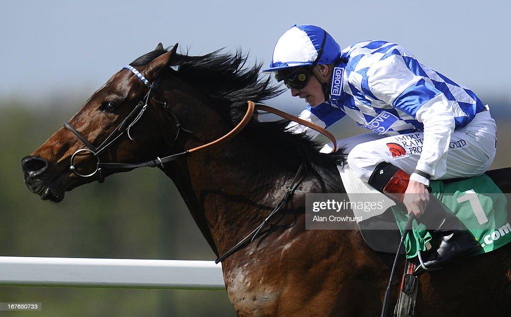 James Doyle riding Al Kazeem win The bet365 Gordon Richards Stakes at Sandown racecourse on April 27, 2013 in Esher, England.