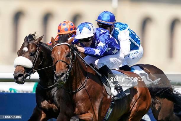 James Doyle riding Aspetar win The Grand Prix De Chantilly during The Qipco Prix du Jockey Club meeting at Hippodrome de Chantilly on June 02 2019 in...