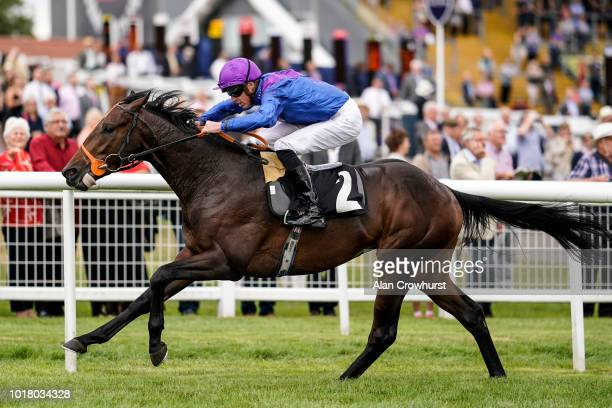 James Doyle riding Athmad win The Don Deadman Memorial EBF Maiden Stakes at Newbury Racecourse on August 17 2018 in Newbury United Kingdom