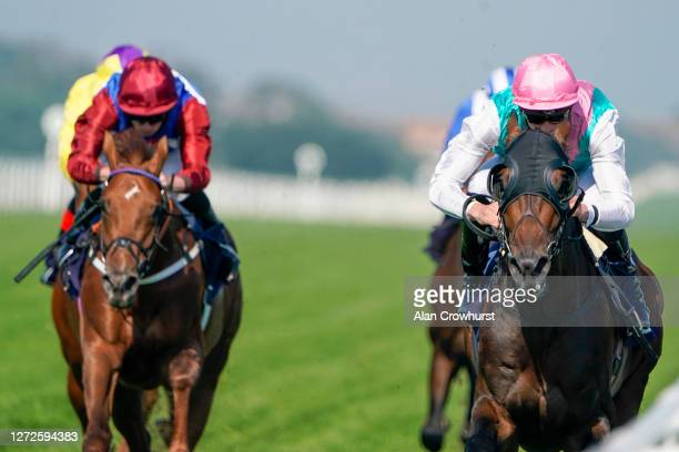James Doyle riding Emissary win The Sky Sports Racing Sky 415 Handicap at Yarmouth Racecourse on September 15 2020 in Great Yarmouth England Owners...