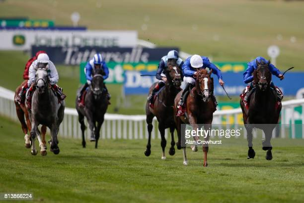 James Doyle riding Hawkbill win The Princess Of Walesâs Arqana racing Club Stakes from Frontiersman at Newmarket racecourse on July 13 2017 in...