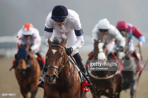 James Doyle riding Headway win The 32Red Spring Cup Stakes at Lingfield Park racecourse on March 3 2018 in Lingfield England