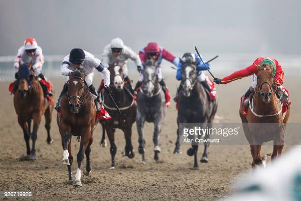 James Doyle riding Headway win The 32Red Spring Cup Stakes from Rufus King at Lingfield Park racecourse on March 3 2018 in Lingfield England