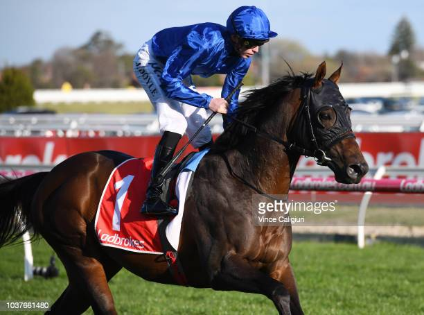James Doyle riding Jungle Cat to the start before winnning in Race 8 Ladbrokes Sir Rupert Clarke Stakes during Melbourne Racing at Caulfield...