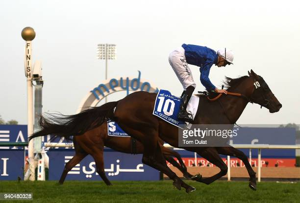 James Doyle riding Jungle Cat wins Al Quoz Sprint during the Dubai World Cup Race Day at Meydan Racecourse on March 31 2018 in Dubai United Arab...
