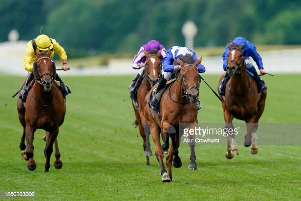 James Doyle riding Lord North win The Prince Of Wales's Stakes at Ascot Racecourse on June 17, 2020 in Ascot, England. The Queen will miss out on...