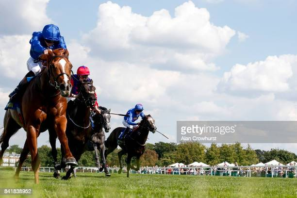 James Doyle riding Masar win The BetBright Solario Stakes at Sandown Park racecourse on September 2 2017 in Esher England