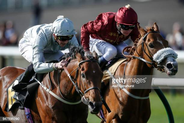 James Doyle riding Mildenberger win The bet365 Feilden Stakes from Fortuneâs Pearl at Newmarket racecourse on April 17 2018 in Newmarket England