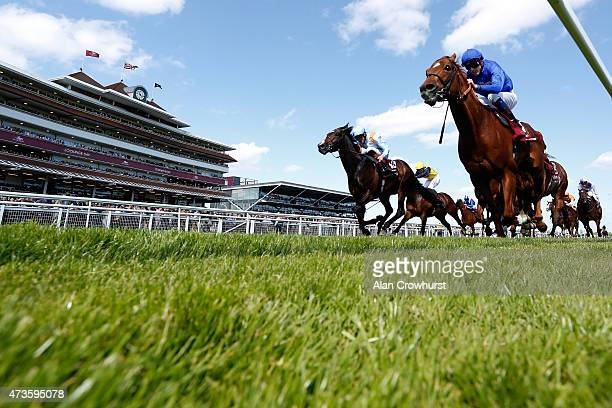 James Doyle riding Night Of Thunder win The Al Shaqab Locking Stakes at Newbury racecourse on May 16 2015 in Newbury England