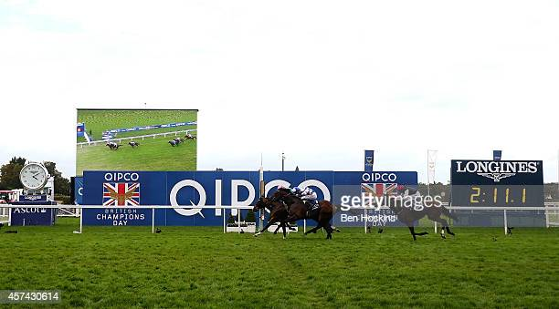 James Doyle riding Noble Mission crosses the finish line to win The Qipco Champion Stakes at Ascot Racecourse on October 18 2014 in Ascot England