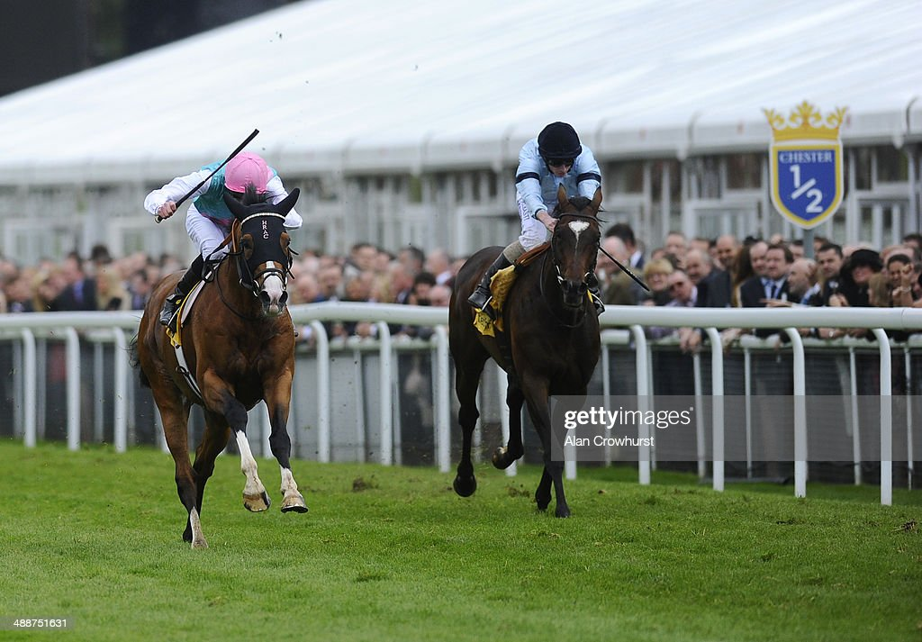 James Doyle riding Noble Mission (L) win The Betfair Price Rush Huxley Stakes from Telescope at Chester racecourse on May 08, 2014 in Chester, England.