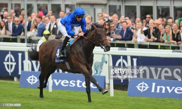 James Doyle riding Pinatubo win wins the Investec Woodcote EBF Stakes at Epsom Racecourse on May 31 2019 in Epsom England