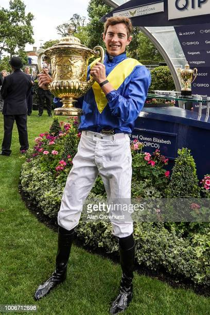 James Doyle riding Poets Word after winning The King George VI And Queen Elizabeth Stakes at Ascot Racecourse on July 28, 2018 in Ascot, United...