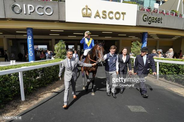 James Doyle riding Poets Word return after winning The King George VI And Queen Elizabeth Stakes at Ascot Racecourse on July 28 2018 in Ascot United...