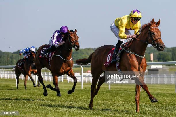 James Doyle riding Sea Of Class win The Haras de Bouquetot Filliesâ Trial Stakes at Newbury Racecourse on May 19 2018 in Newbury United Kingdom