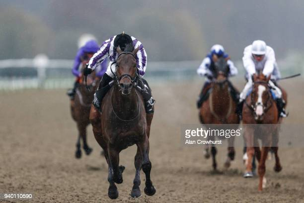 James Doyle riding Victory Bond win The Betway Easter Classic AllWeather Middle Distance Championships Conditions Stakes at Lingfield Park on March...