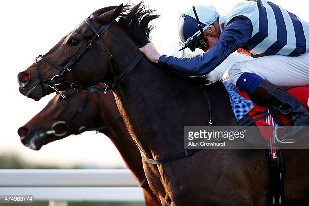 James Doyle riding Western Hymn win The Cantor Fitzgerald Research Brigadier Gerard Stakes from Arab Spring at Sandown racecourse on May 28 2015 in...