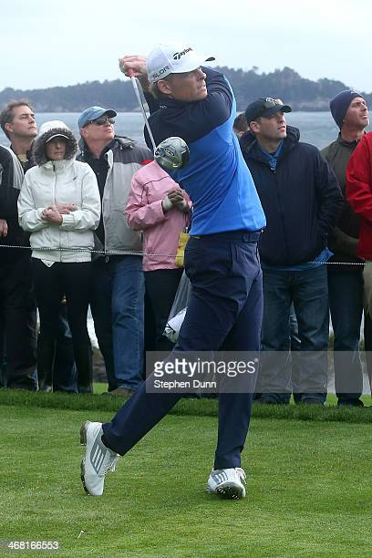 James Driscoll hits a tee shot on the 14th hole during the third round of the ATT Pebble Beach National ProAm at the Pebble Beach Golf Links on...