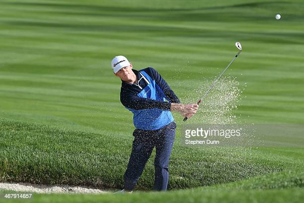 James Driscoll hits out of the bunker on the third hole during the third round of the ATT Pebble Beach National ProAm at the Pebble Beach Golf Links...