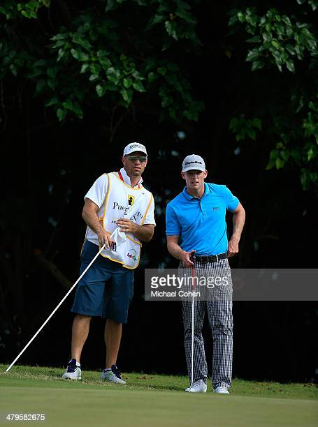 James Driscoll lines up a putt during the third round of the Puerto Rico Open presented by seepuertoricocom held at Trump International Golf Club on...