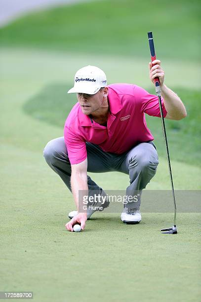 James Driscoll lines up a putt on the 13th hole during the final round of the ATT National at Congressional Country Club on June 30 2013 in Bethesda...