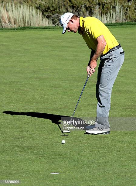 James Driscoll makes a birdie putt on the eighth hole during the first round of the RenoTahoe Open at Montreaux Golf and Country Club on August 1...