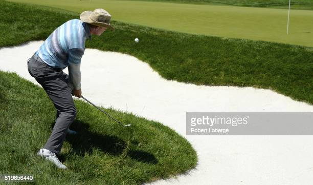 James Driscoll makes a shot out of the rough on the ninth hole during round one of the Webcom Tour Pinnacle Bank Championship on July 20 2017 at the...