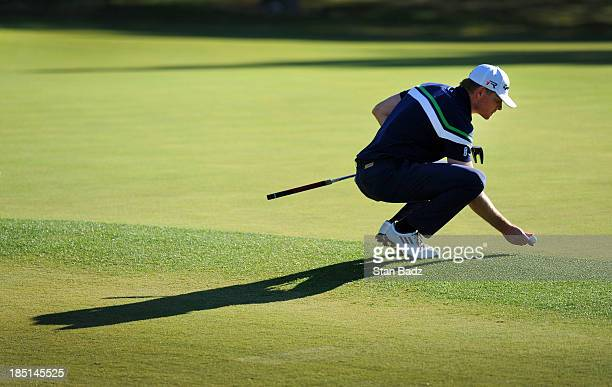 James Driscoll places his golf ball down on the eighth green during the first round of the Shriners Hospitals for Children Open at TPC Summerlin on...