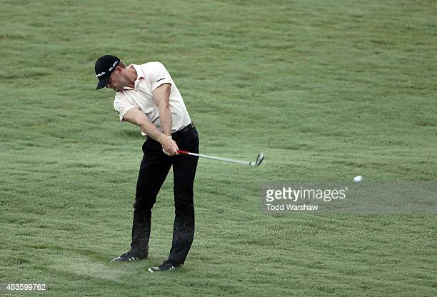 James Driscoll plays a shot from the fairway on the 11th hole during the first round of the Wyndham Championship at Sedgefield Country Club on August...