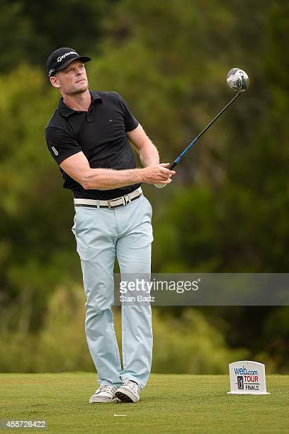 James Driscoll tees off on the eighth hole during the second round of the Webcom Tour Championship at TPC Sawgrass Dye's Valley Course on September...