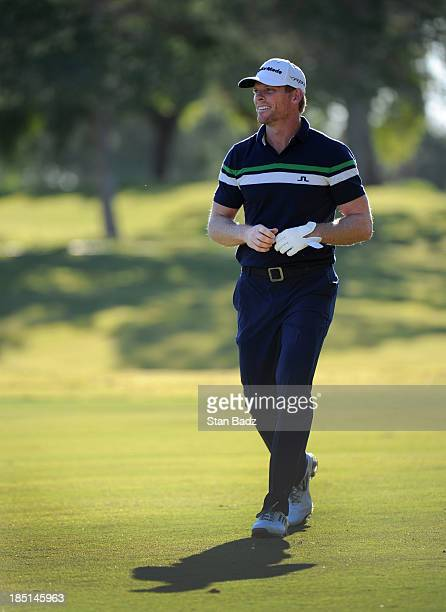 James Driscoll walks to the ninth green during the first round of the Shriners Hospitals for Children Open at TPC Summerlin on October 17 2013 in Las...