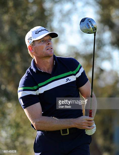 James Driscoll watches his drive on the ninth hole during the first round of the Shriners Hospitals for Children Open at TPC Summerlin on October 17...