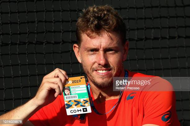 James Duckworth celebrates winning his match against Luke Saville during the 2019 Australian Open Playoff at Melbourne Park on December 16 2018 in...