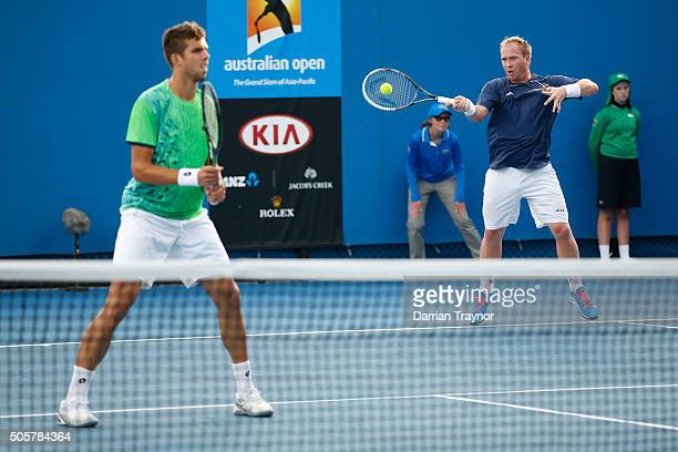 James Duckworth of Australia and John Millman of Australia compete in their first round match against Lukas Dlouhy of the Czech Republic and Jiri...