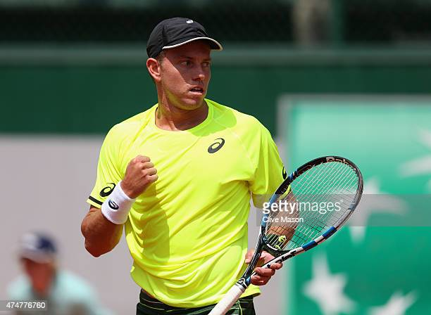 James Duckworth of Australia celebrates a point during his Men's Singles match against Andrea Arnaboldi of Italy on day three of the 2015 French Open...