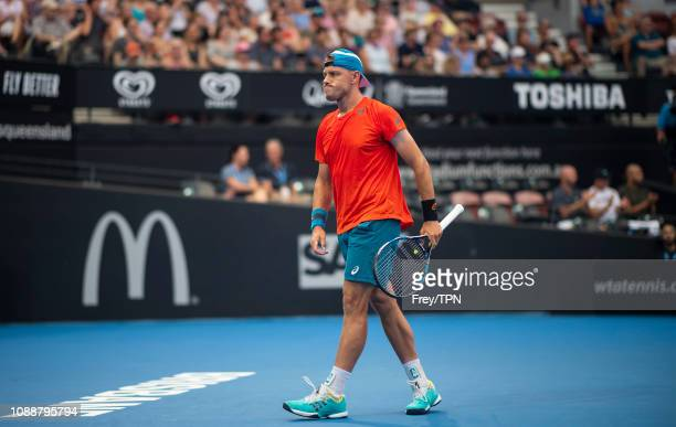 James Duckworth of Australia in action against Andy Murray of Great Britain during day three of the 2019 Brisbane International at Pat Rafter Arena...
