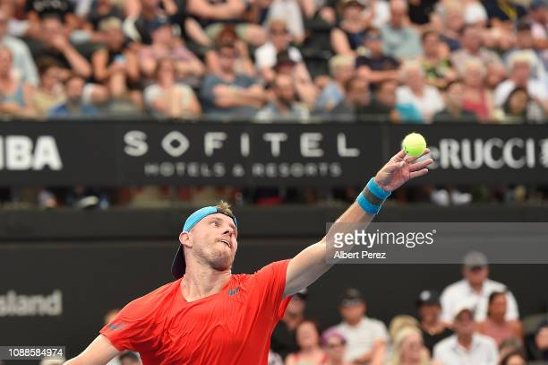 James Duckworth of Australia looks on in his match against Andy Murray of Great Britain during day three of the 2019 Brisbane International at Pat...