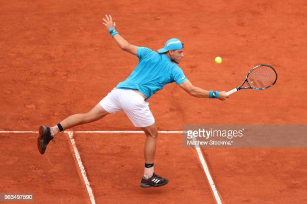 James Duckworth of Australia plays a backhand during the mens singles first round match against Marin Cilic of Croatia during day three of the 2018...