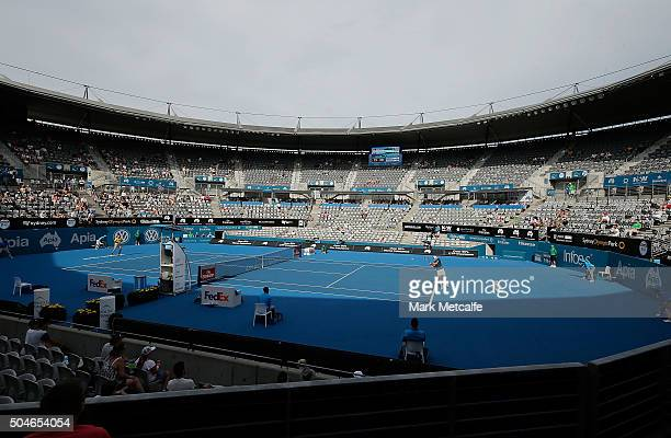 James Duckworth of Australia plays a backhand in his match against Inigo Cervantes of Spain during day three of the 2016 Sydney International at...