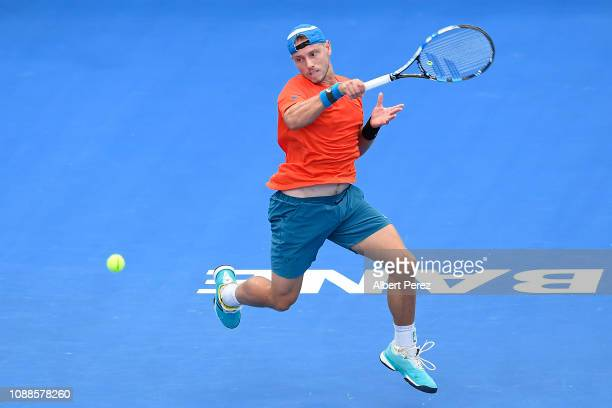 James Duckworth of Australia plays a forehand in his match against Andy Murray of Great Britain during day three of the 2019 Brisbane International...