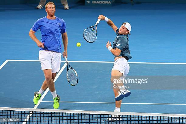 James Duckworth of Australia plays a forehand in the Mens Doubles Final partnered with Chris Guccione of Australia against Henri Kontinen of Finland...