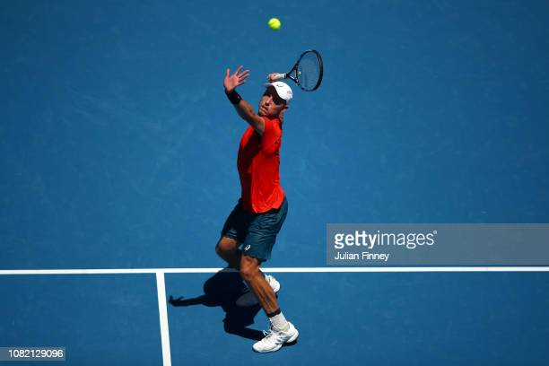 James Duckworth of Australia plays a shot in his first round match against Rafael Nadal of Spain during day one of the 2019 Australian Open at...