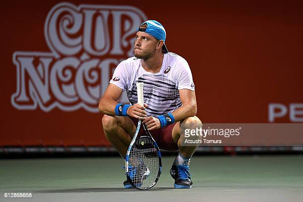 James Duckworth of Australia reacts during the men's singles second round match against Juan Monaco of Argentina on day three of Rakuten Open 2016 at...