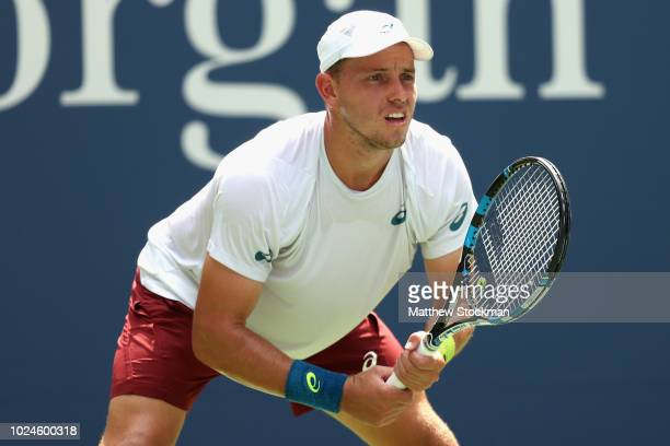 James Duckworth of Australia reacts in his mens singles first round match against Andy Murray of Great Britain on Day One of the 2018 US Open at the...