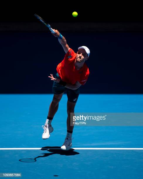 James Duckworth of Australia serves during his first round match against Rafael Nadal of Spain during day one of the 2019 Australian Open at...